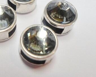 2 5mm Flat Leather Black Diamond Swarovski Silver Sliders, flat leather finding, jewelry supply, mini, crystal, KFS-05
