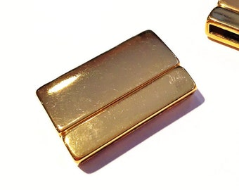 SALE:  30mm Flat Leather Light Gold Rectangle Magnetic Clasp, Triple 3 strand clasp, Gold plated zamak, Rectangle