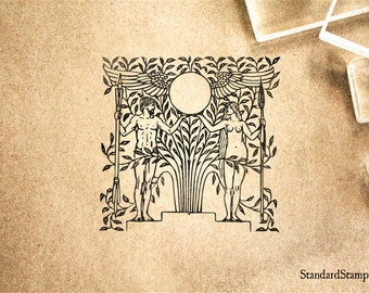 Adam and Eve Rubber Stamp - 2 x 2 inches