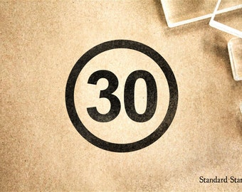 Number 30 Rubber Stamp - 2 x 2 inches