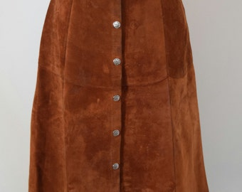 1970's Suede Button Up Midi Skirt