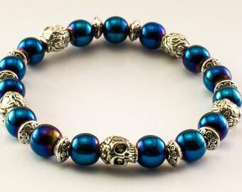 Blue Pirate Skull Bracelet (Silver) - - Buccaneer Bracelet, Charm, Privateer Bracelet, Pirate Jewelry, Pirate Party, Beach Nautical Jewelry