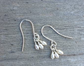 Tiny trio pearl earrings