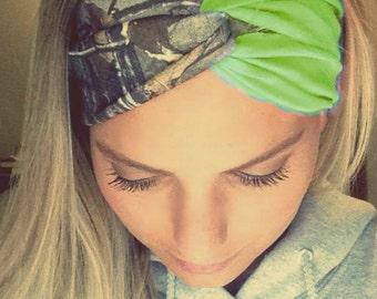 Lime Green and Camo Turban Style Headband Headwrap