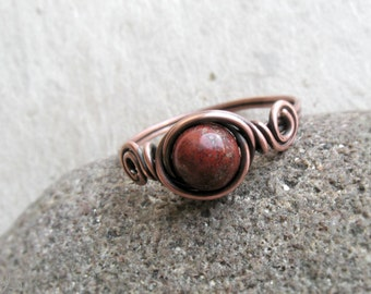 Red Jasper Wire Wrapped Ring, Protection Stone, October birthstone, red, elegant, boho, sterling silver, copper, Base chakra