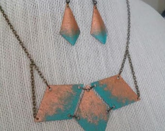 Copper or Silver with Turquoise Painted Brass Geometric Jewelry Set