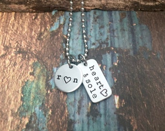 Gifts for Runners Marathon Gift Heart and Sole Run Love Running Necklace for Half Marathon or Ultra Presents for Runner Endurance Jewelry