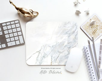 Marble Mousepad Faux White Marble Print Mouse Mat Mouse Pad Office Mousemat Heart Mousemat White Marble Print Mousepad Round T94d