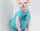 Cat Clothing / Tank Top in TURQUOISE/ Sphynx Cat Clothes / See Item Details for more colors & styles. Dog clothes, Stock Jersey Tank SJT