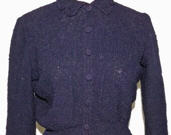 1940s Rayon Cardigan Sz M Vintage Retro WWII