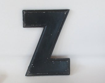 "Vintage Cast Metal Letter ""Z""  Wagner Sign, 1940s Notched 10"" tall Marquee, Black Chippy Painted Aluminum Architectural Theater Alphabet ""Z"""