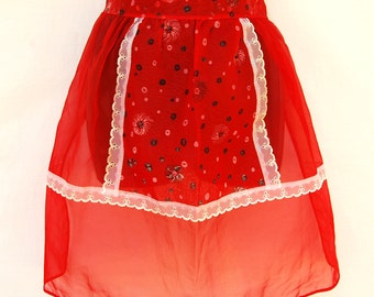 Vintage Atomic Sheer 50s Half Apron Red Chiffon Hostess Mid Century Pinup Housewife Retro