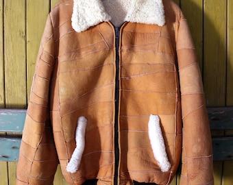 Man's sheep fur jacket brown Lambskin coat jacket vintage leather coat man shearling coat leather jacket coat mans Sheepskin winter coat