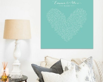 Song lyric art, song lyrics wall art, wedding song lyric art, first dance, custom, canvas, Wedding Gift, Anniversary, Heart, typography