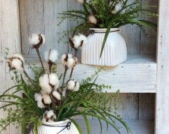 Cotton Floral Arrangment,Fixer upper style, Small Floral arrangement ,Cotton Arrangemnet,Magnolia market decor,Farmhouse decor, Rustic decor