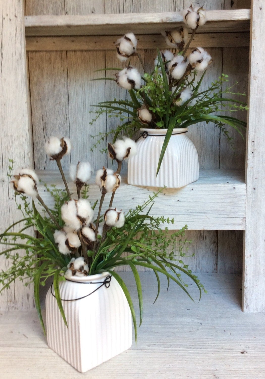 Cotton Floral Arrangment,Fixer upper style, Small Floral arrangement ,Cotton Arrangemnet,Magnolia market decor,Farmhouse decor, Rustic decor