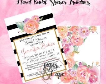 Black/White Stripe Bridal Shower Invitation