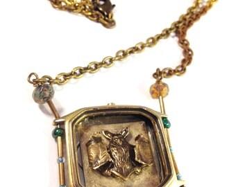 Unique vintage watch case bat shadowbox necklace, steampunk and victorian jewelry