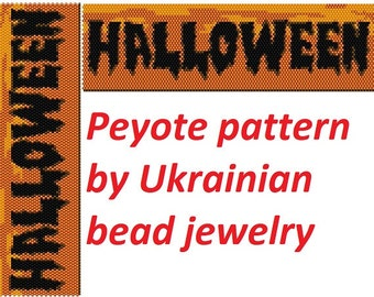Halloween printable digital halloween patterns title halloween orange patterns day of the dead halloween graph seed bead cuff witch jewelry