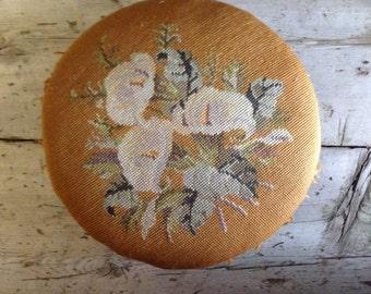 victorian footstool / antique footstool / embroidered footstool / vintage footstool