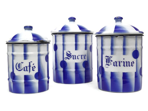 blue enamel canisters flour sugar coffee canisters french. Black Bedroom Furniture Sets. Home Design Ideas