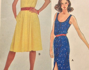 """Vogue 7711 Scoop Neck Dress Button Front Sleeveless Fitted A-Line Dress  1990s Vintage Sewing Pattern Very Easy Vogue Size 10 Bust 30.5"""""""