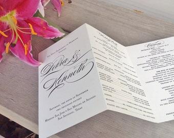 Wedding Ceremony Program - Personalized Tri-fold Wedding Program - Calligraphy - Ivory/Cream Cardstock