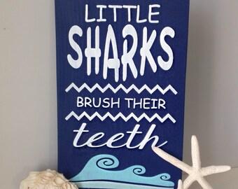 Little Sharks Brush Their Teeth Wood Sign- Shark Bathroom Decor