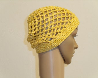 Yellow crochet Netzbeanie