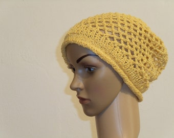 Crocheted Sun Yellow Hat