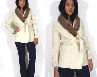 Vintage 70s White Ivory Fisherman Cardigan Belted Wrap Sweater Brown Mink Fur Collar