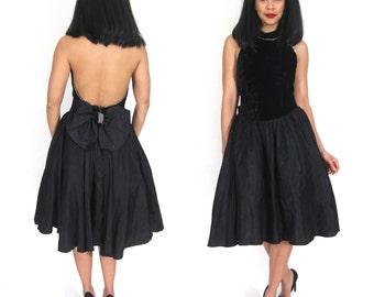 Vintage 80s Velvet Backless Halter Party Dress Full Skirt Rhinestones Party Glam