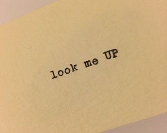 "Calling Cards (""Look me UP"") printed by typewriter, one dozen"
