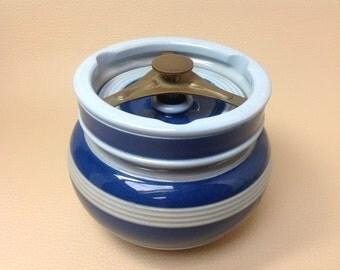 1920s English Stoneware Tobacco Jar. Tobacco Humidor. Pipe Smoking Accessories. Edwardian Humidor. Travel Tobacco Humidor. Ceramic Humidor.