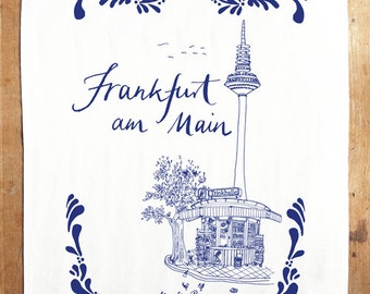 I <3 Trinkhalle! Frankfurt Limited Edition words & illustration screen printed tea towel with illustrations by amelie persson