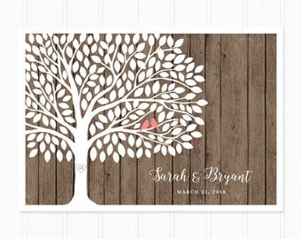 Guest Book Tree - Guest Book Alternative for 150 Guest Signatures - Rustic Wedding Wood Guest Book Print