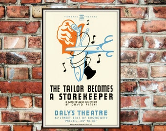 Large or Extra Large The Tailor Becomes a Storekeeper Daly's Theatre Broadway New York Art Print Poster