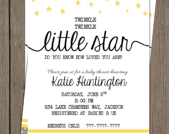 Printable DIY Baby Shower Twinkle Twinkle Little Start | Yellow and Gray | Polka Dots and Stars