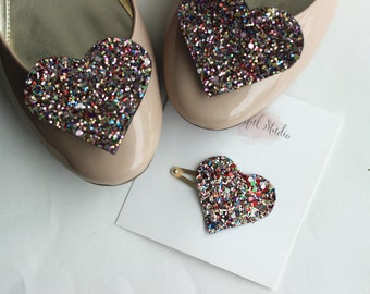 Glitter Heart Snap Clip - Dark Rainbow