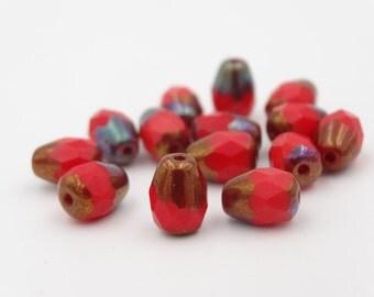 Czech Glass 8x6mm Red Bronze Drop Thru-Cut   12 Pieces