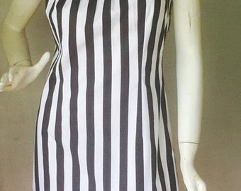Black and White Striped Cotton Halter Dress