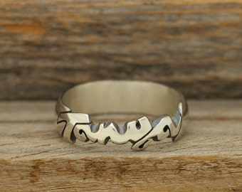 Hand Carved Silver Name Ring - Cursive