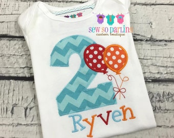 1st Birthday Boy Balloon Shirt - Red Orange Aqua Birthday Shirt - Balloon Birthday Outfit - Birthday shirt - first birthday outfit boy