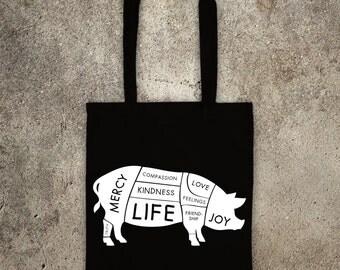 happy VEGAN PIG tote shopper bag meat is murder, vegan veggie animal rights alf protest shopping vegetarian healthy diet