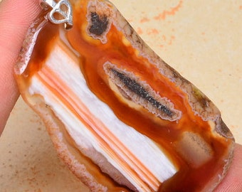 Red, Madagascar Agate Gemstone Sterling Silver Pendant, Bright Colors Agate Pendant