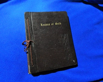 1963 Leaves of Gold Hardcover Scrapbok Style Prayers Phrases Verse + Prose Book