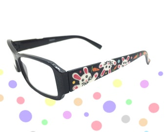 Women's 1.0 Strength Hand Painted Easter Bunny Reading Glasses with Carrots and Polka Dots