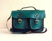 Green Leather Bag ,Messenger Bag ,Purse ,ipad Bag ,crossbody ,gift for her ,leather purse ,christmas ,birthday