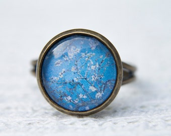 Van Gogh Ring, Almond Blossoms, Art Ring, Statement Ring, Adjustable Ring, Glass Dome Ring, Vincent Van Gogh, Blue Ring, Vincent