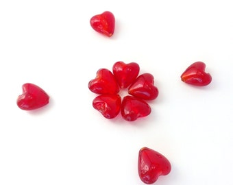 Large Red Heart Beads, Glass Heart Beads, Glass Foil Beads with Metallic Sparkle, Valentine's Heart Beads- 20mm x 20mm x 10-12mm (9 Pieces)